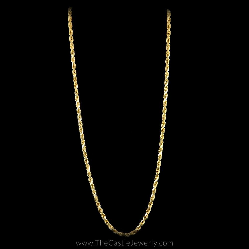 Diamond Cut Rope Chain 18″ 14K Yellow Gold 3mm Thick
