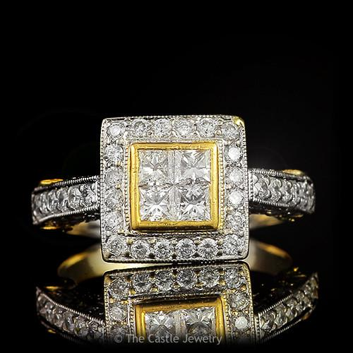Quad Diamond Cluster Engagement 1.50 cttw Halo & Accents 18k Yellow & White Gold-0