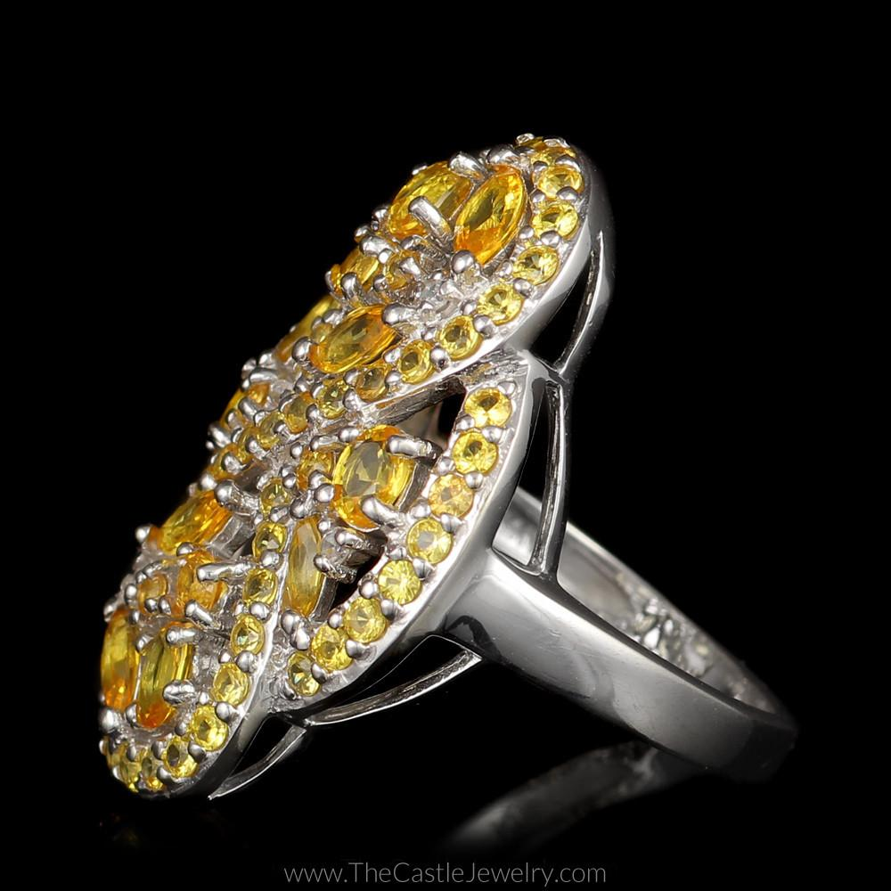 Large Citrine Figure 8 Infinity Cocktail Ring with Diamond Accents in 14K White Gold-2
