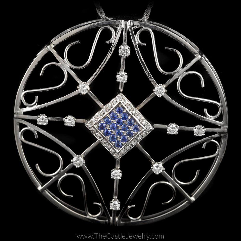 Large Round Sapphire and Diamond Pendant with Scroll Designs in 14K White Gold