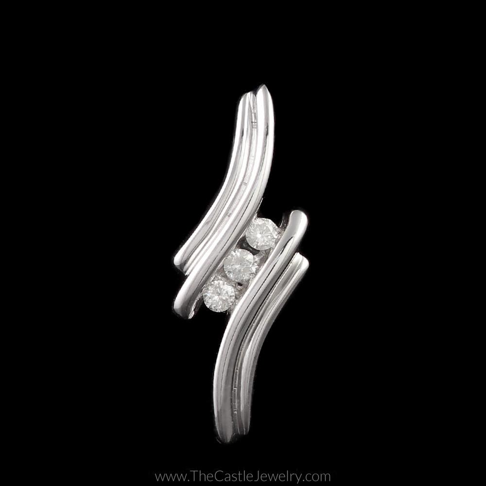 3 Diamond Pendant in Grooved Bypass Design Mounting 14K White Gold