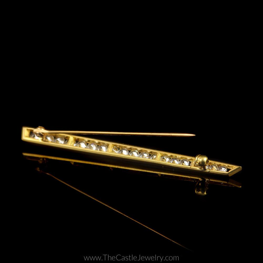 Graduating Diamond Two Toned Tie Pin Brooch in 18K White and Yellow Gold