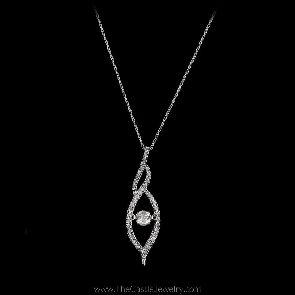 Twisted Marquise Shaped Round Heart Beat Diamond Necklace in 14K White Gold