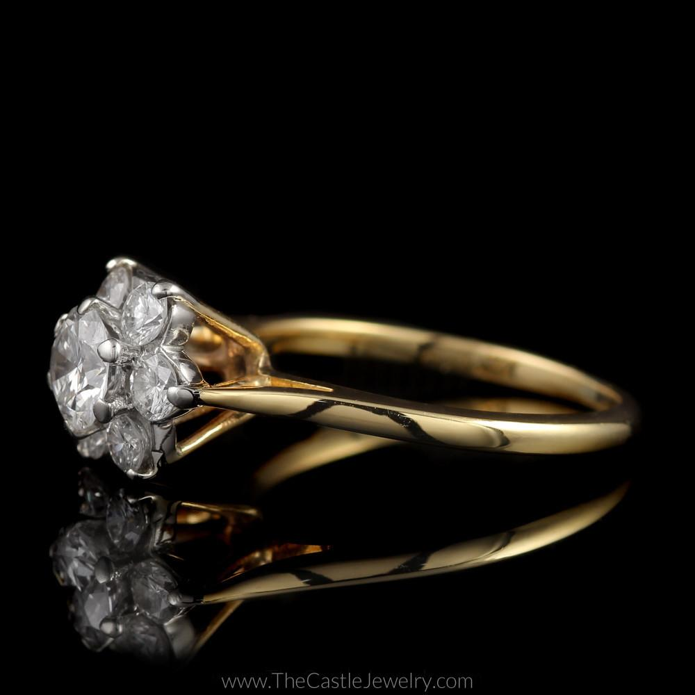 Stunning 1cttw 7 Diamond Flower Cluster Ring in 14K Yellow Gold-2
