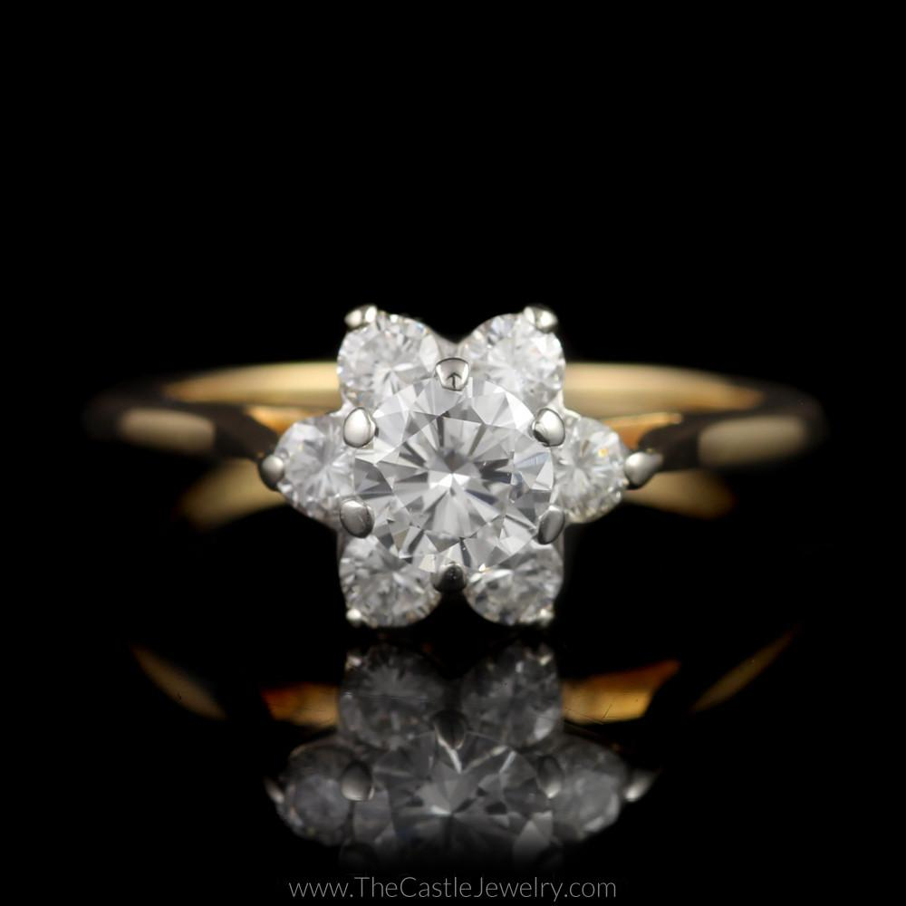 Stunning 1cttw 7 Diamond Flower Cluster Ring in 14K Yellow Gold