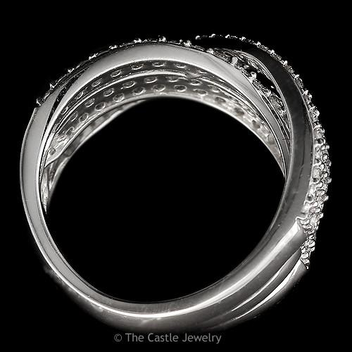 Multi-Row Diamond Band with Overlapping Rows 1.50 cttw in 14K White Gold