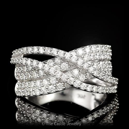 Multi-Row Diamond Band with Overlapping Rows 1.50 cttw in 14K White Gold-0