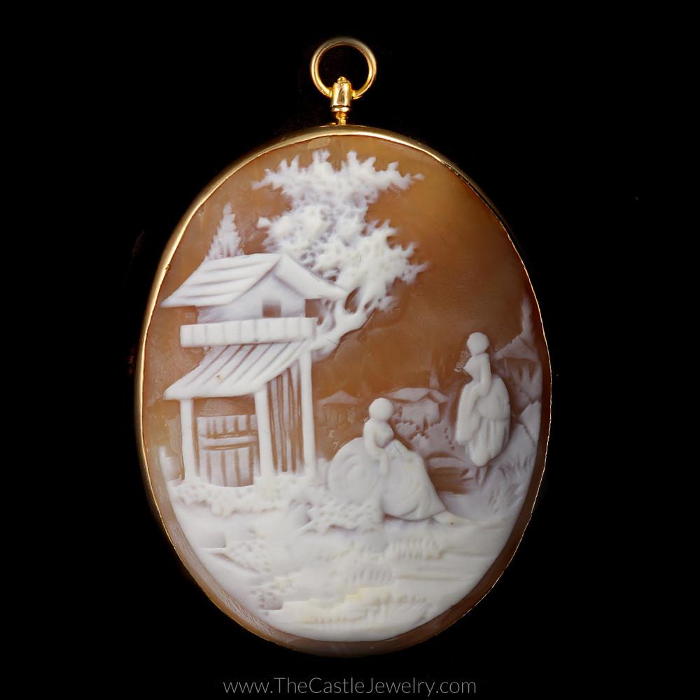 Exquisite Antique Oval Cameo Scene Pendant Pin Combo in 10K Yellow Gold