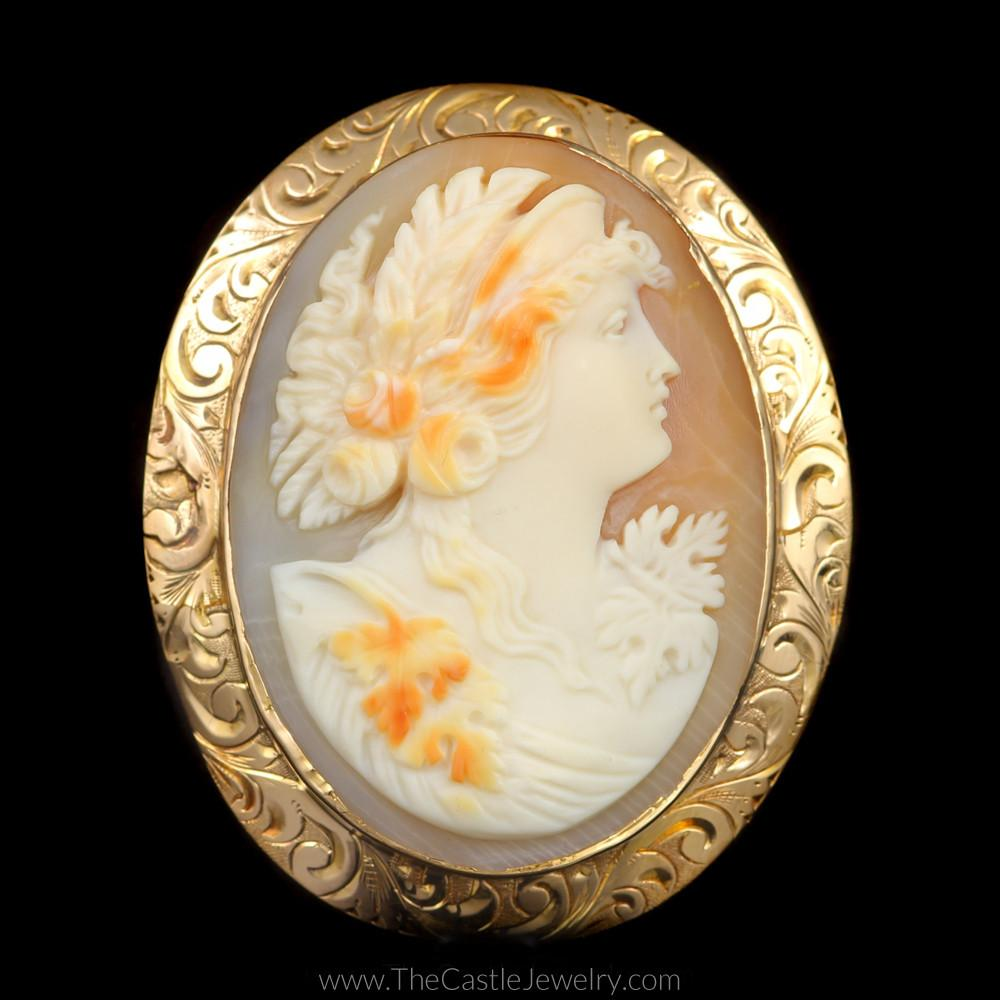Beautiful Antique Cameo Pin with Floral Design Bezel in 10K Yellow Gold