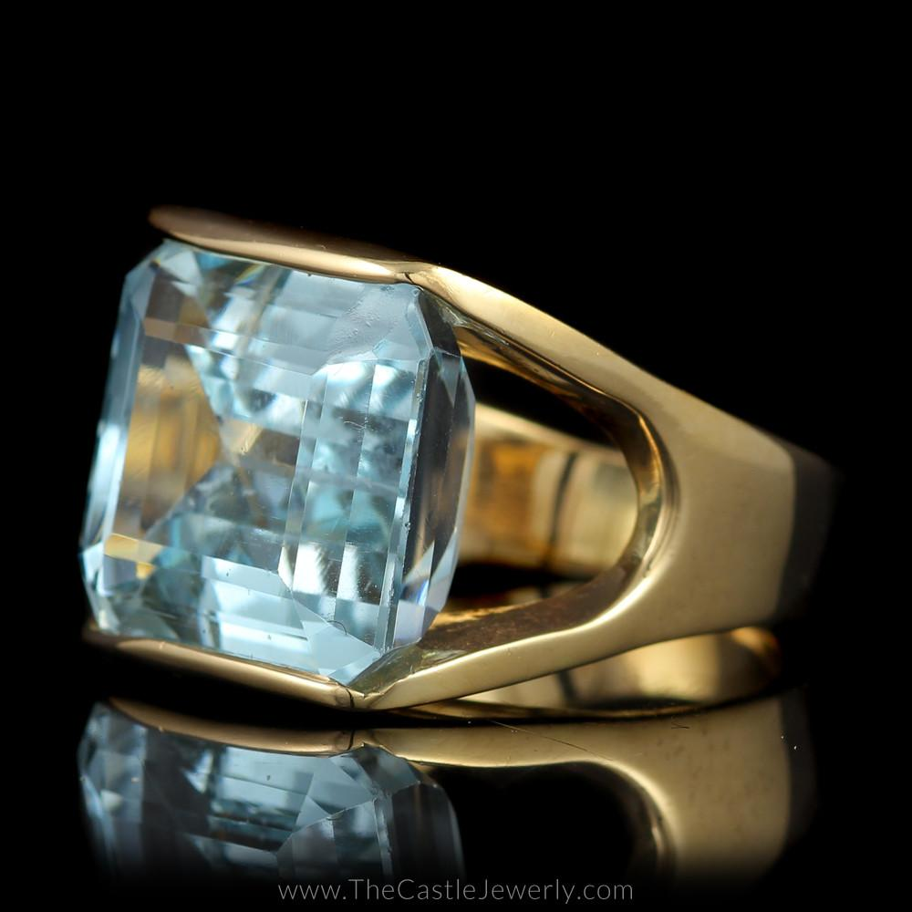 Large Emerald Cut Aquamarine Ring Split Shank Mounting in 14K Yellow Gold-1