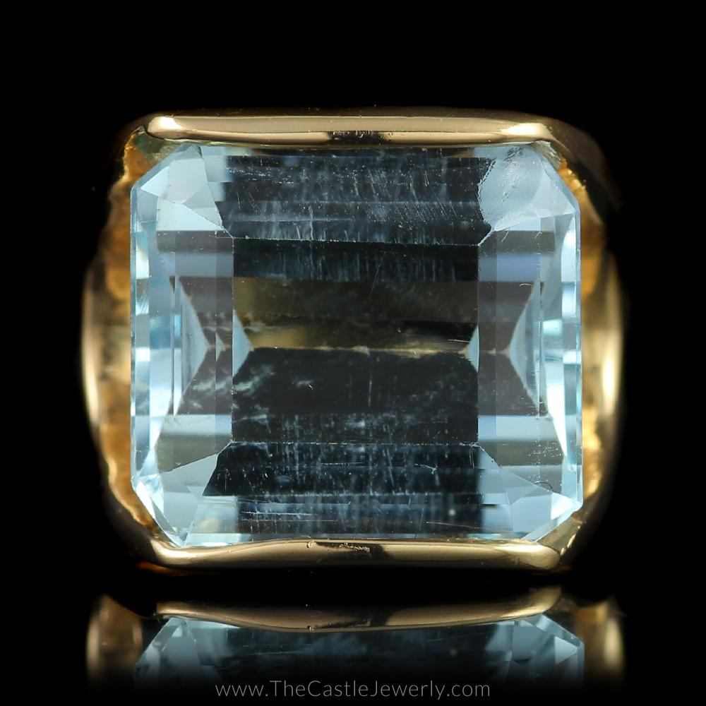 Large Emerald Cut Aquamarine Ring Split Shank Mounting in 14K Yellow Gold