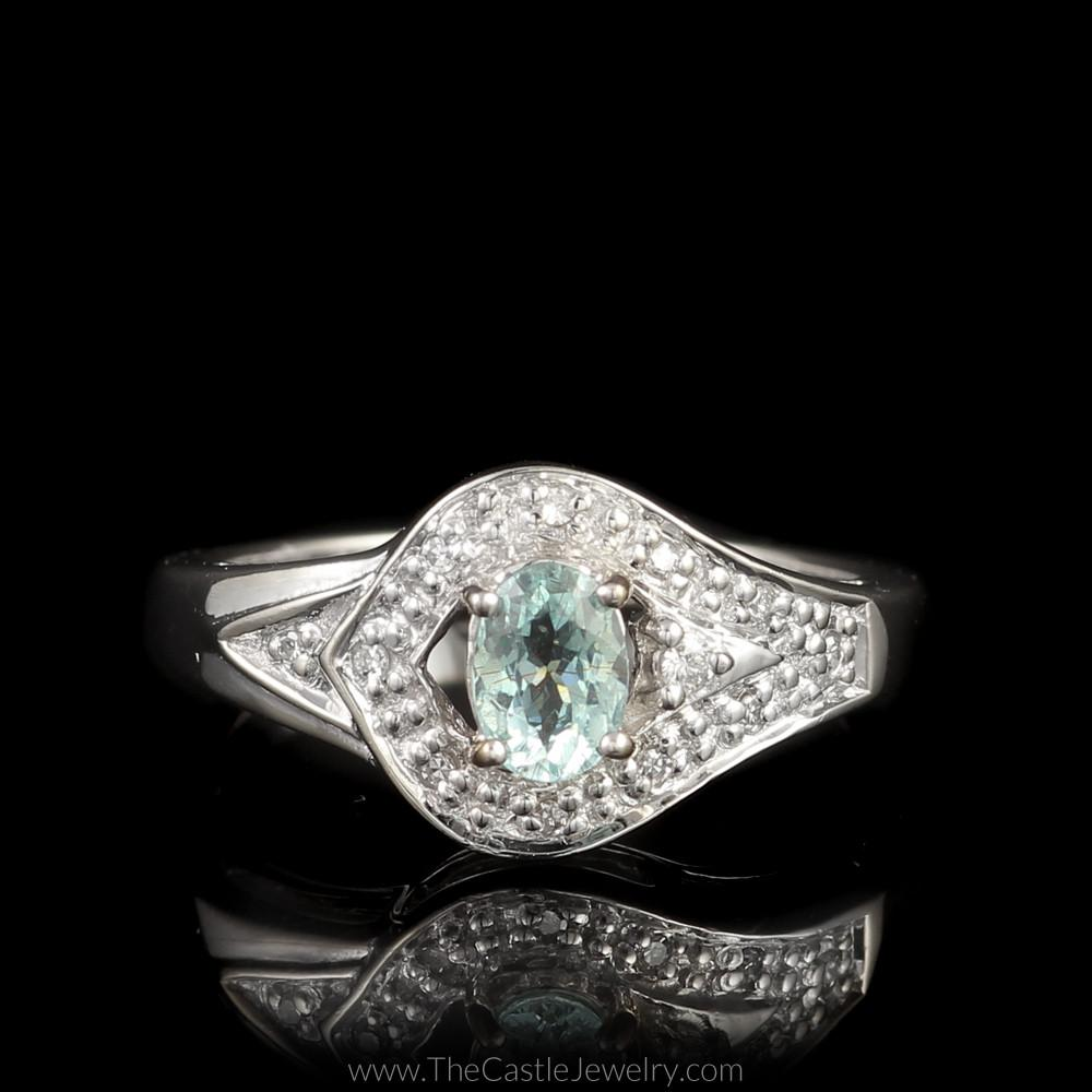 Oval Aquamarine Ring with Fancy Designed Diamond Bezel Mounting in 18K White Gold