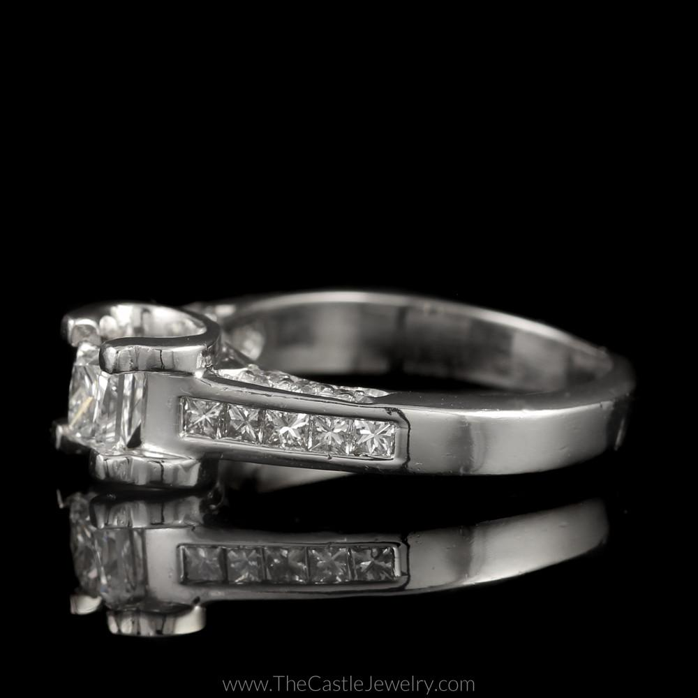 Princess Cut Diamond Engagement Ring 1cttw with Princess & Round Diamond Accents-2