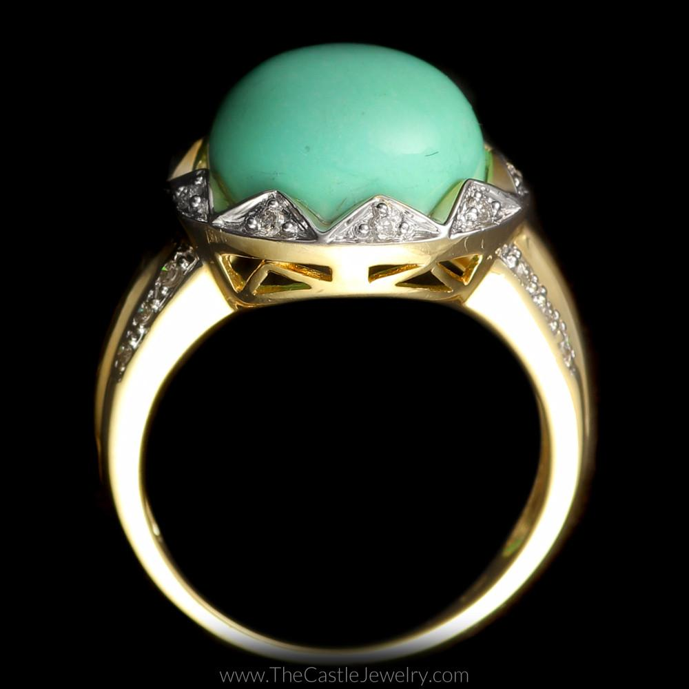 Round Turquoise Ring with Scalloped Diamond Mounting in 14K Gold