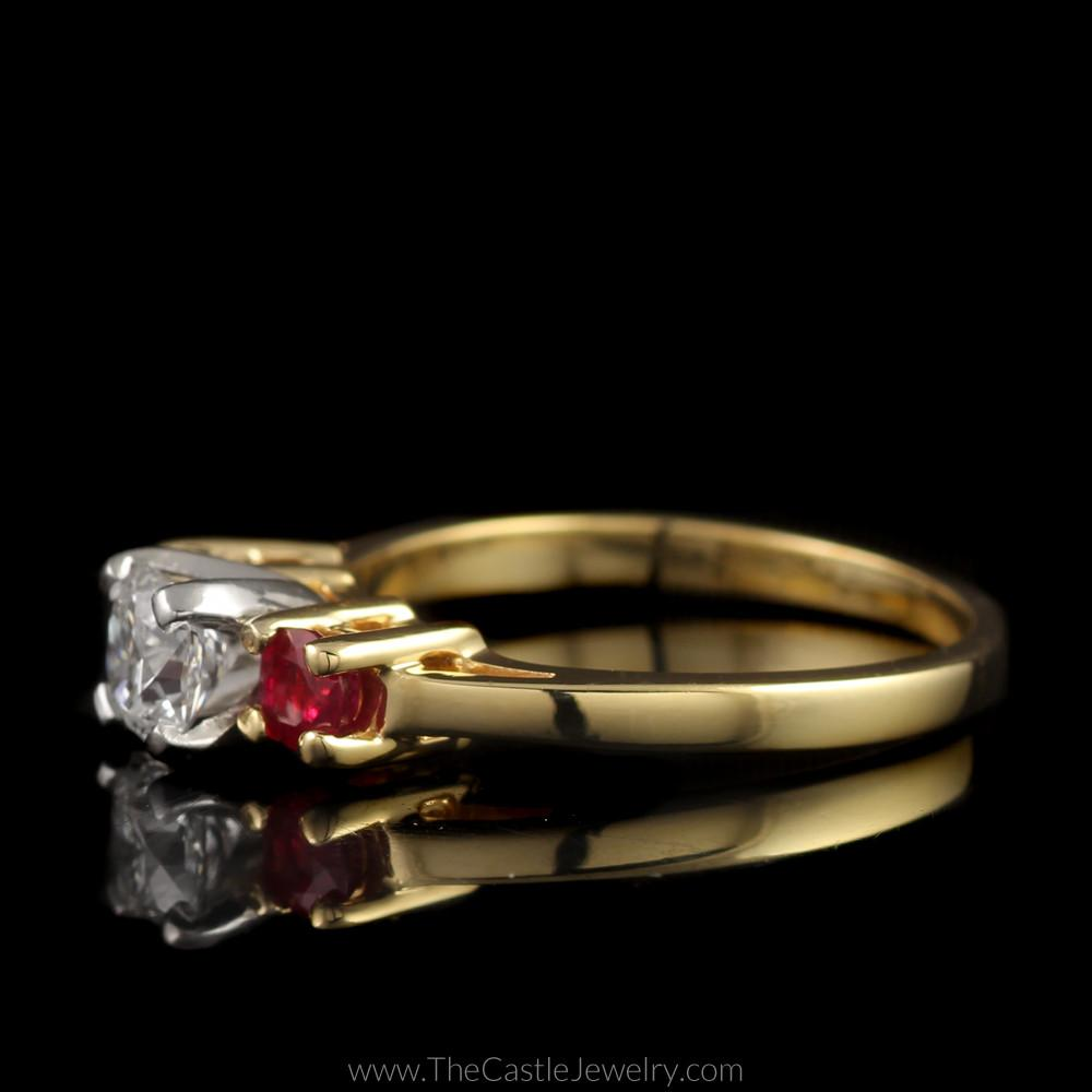 Stunning Radiant Cut Diamond Ring with Round Rubies on Either Side in 14K Yellow Gold-2