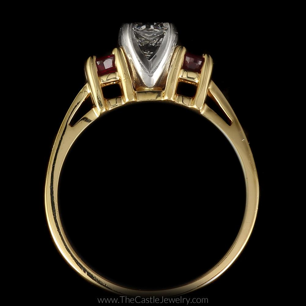 Stunning Radiant Cut Diamond Ring with Round Rubies on Either Side in 14K Yellow Gold-1