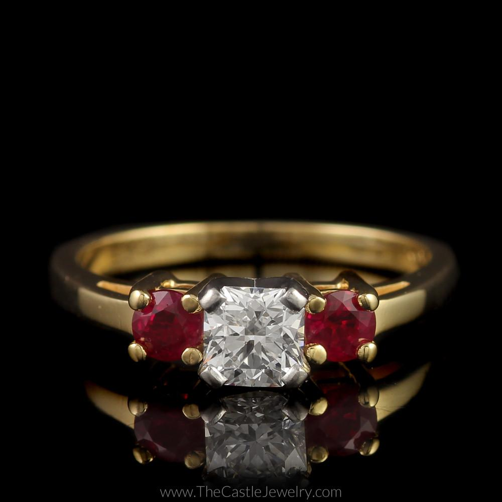 Stunning Radiant Cut Diamond Ring with Round Rubies on Either Side in 14K Yellow Gold
