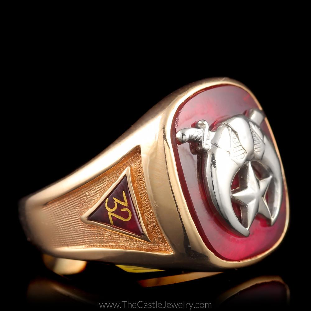 Mystic Shrine Scimitar Crescent Masonic Ring YOD 14th Degree 32nd Sublime Prince