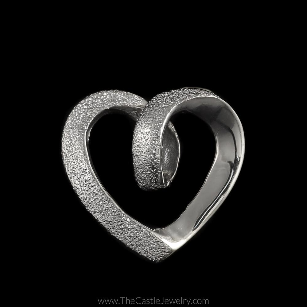 Laser Cut and Polished Loop Heart Pendant in 14K White Gold
