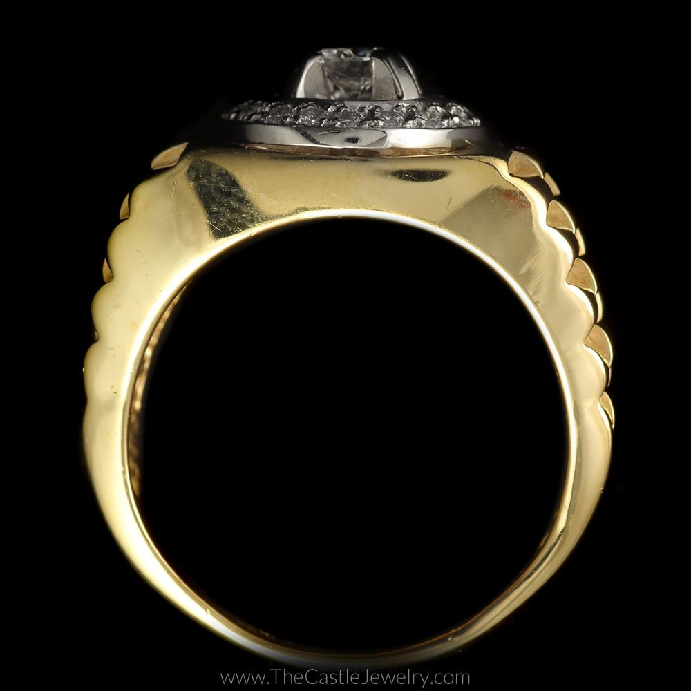 Gent's Round Diamond Ring w/ Bezel and Rolex Jubilee Design Mounting in 14K Yellow Gold-1