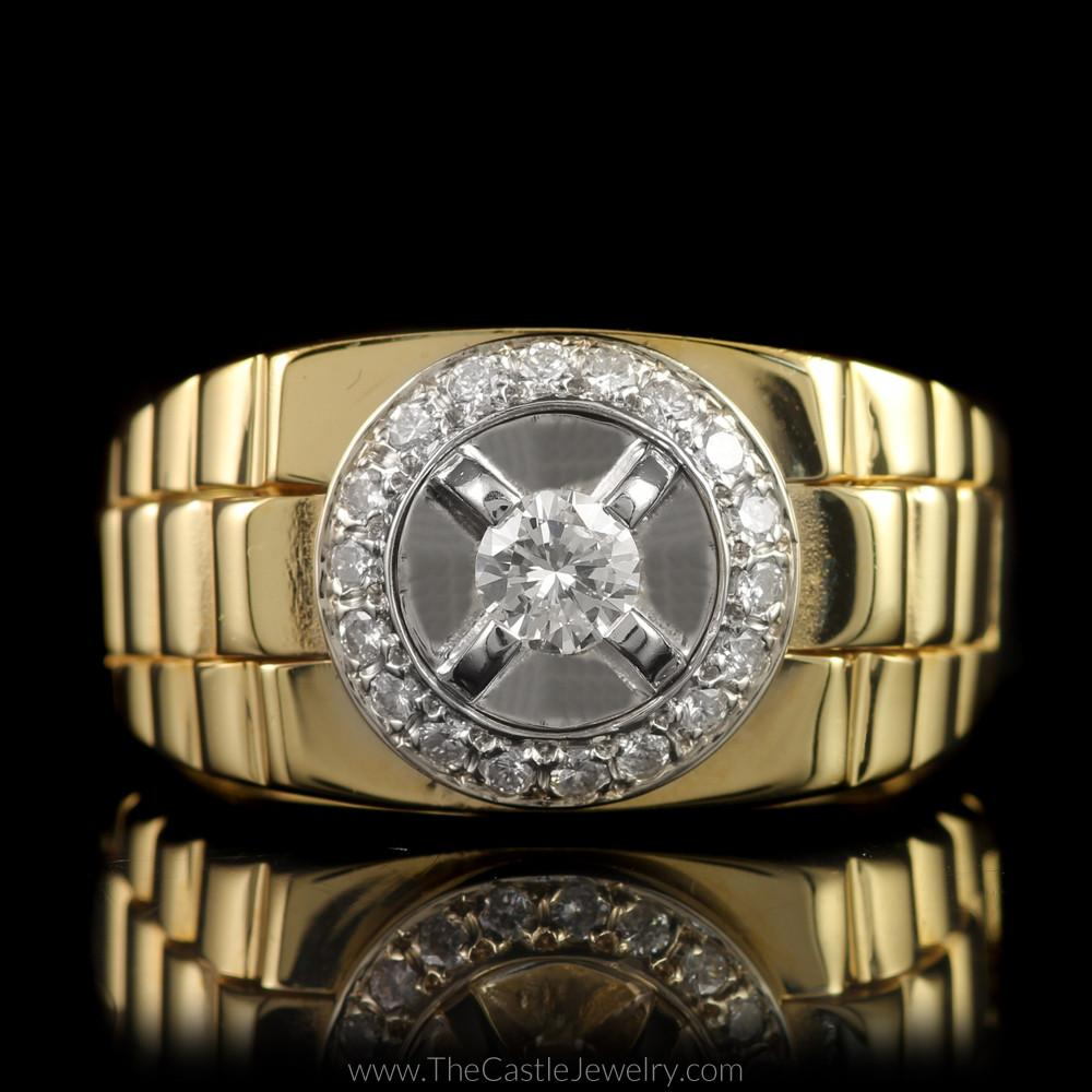 Gent's Round Diamond Ring w/ Bezel and Rolex Jubilee Design Mounting in 14K Yellow Gold