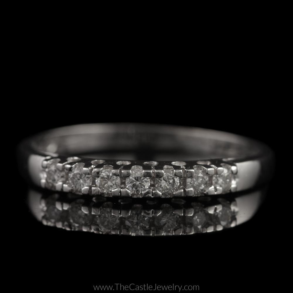 Platinum Wedding Band with Prong Set Round Brilliant Cut Diamonds 1/4cttw