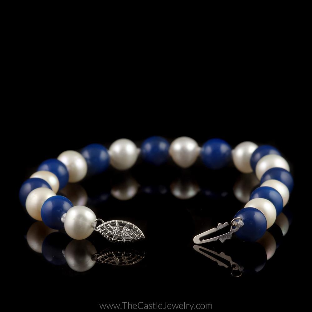University of Kentucky Wildcats Blue Agate and White Pearl 7.5″ Bracelet-1