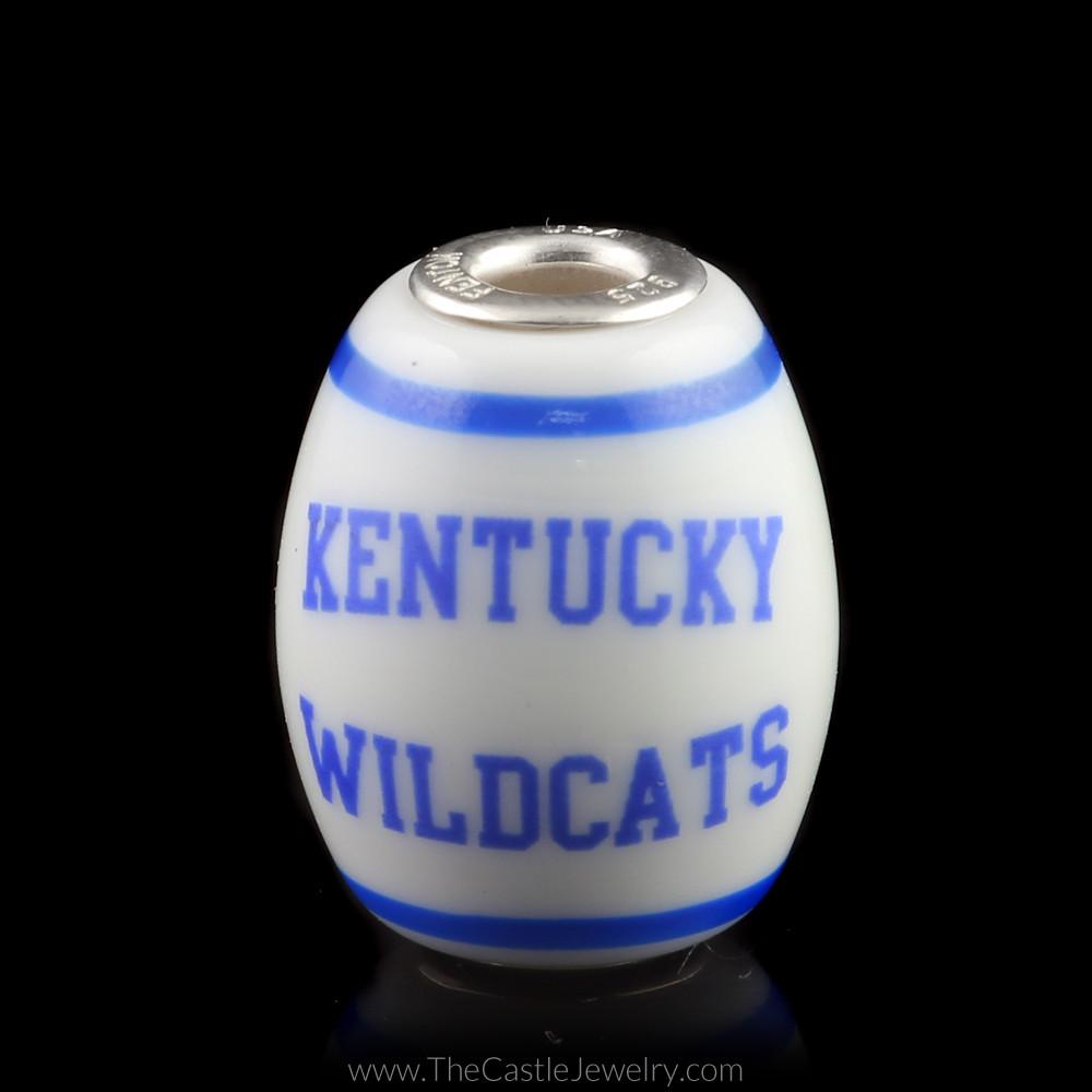 Fenton Art Glass Collegiate University of Kentucky Cornerstone UK Bead-1