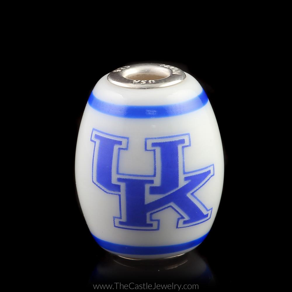 Fenton Art Glass Collegiate University of Kentucky Cornerstone UK Bead