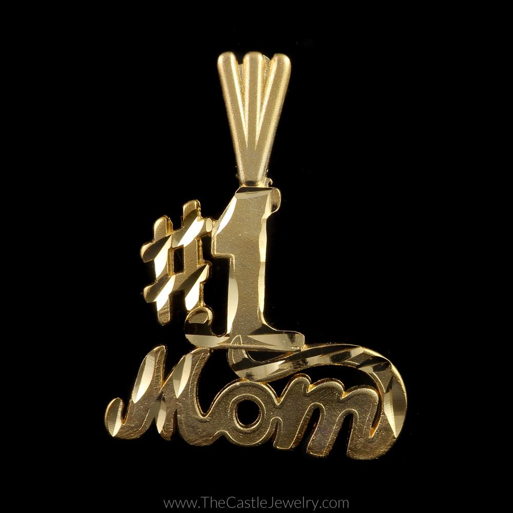 # 1 Mom Pendant Brushed and Diamond Cut Design in 14K Yellow Gold