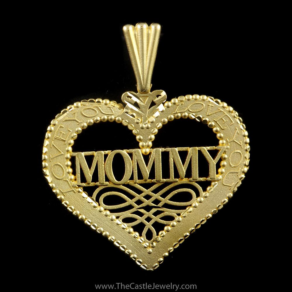 Beautiful Heart Mommy Love You on Sides in 14K Yellow Gold
