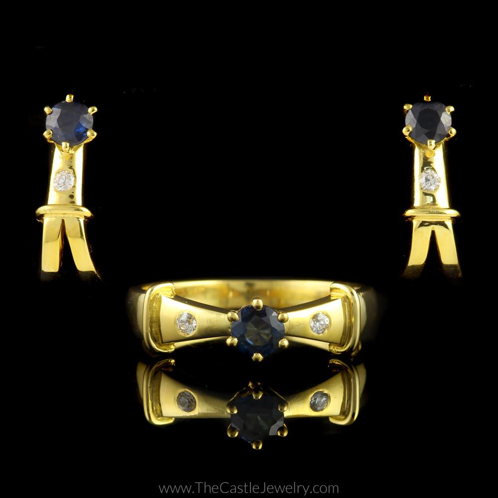 Beautiful Sapphire and Diamond Set in 18K Yellow Gold