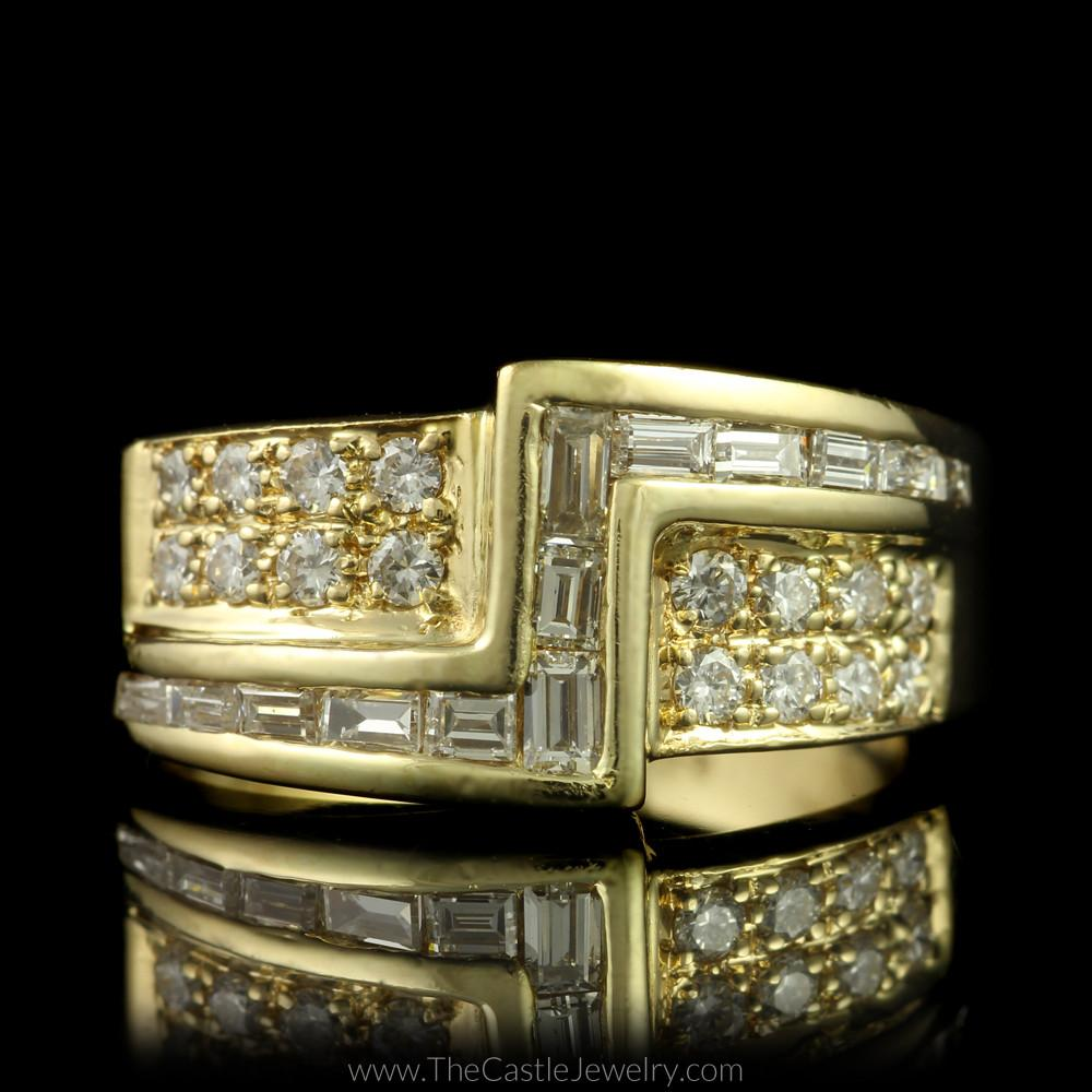 Unique Z Design Round & Baguette Diamond Ring in 14K Yellow Gold