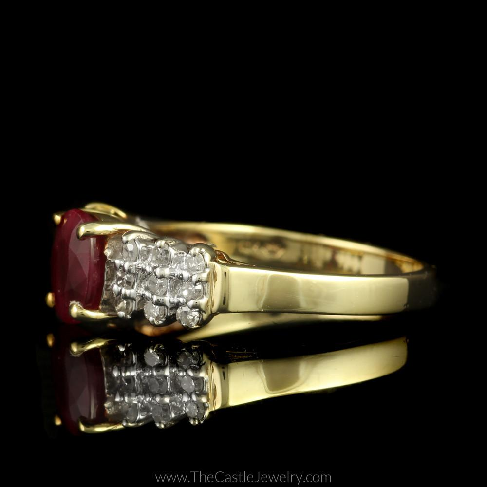 Oval Ruby Ring with Round Diamond Triple Row Accents in 10K Yellow Gold