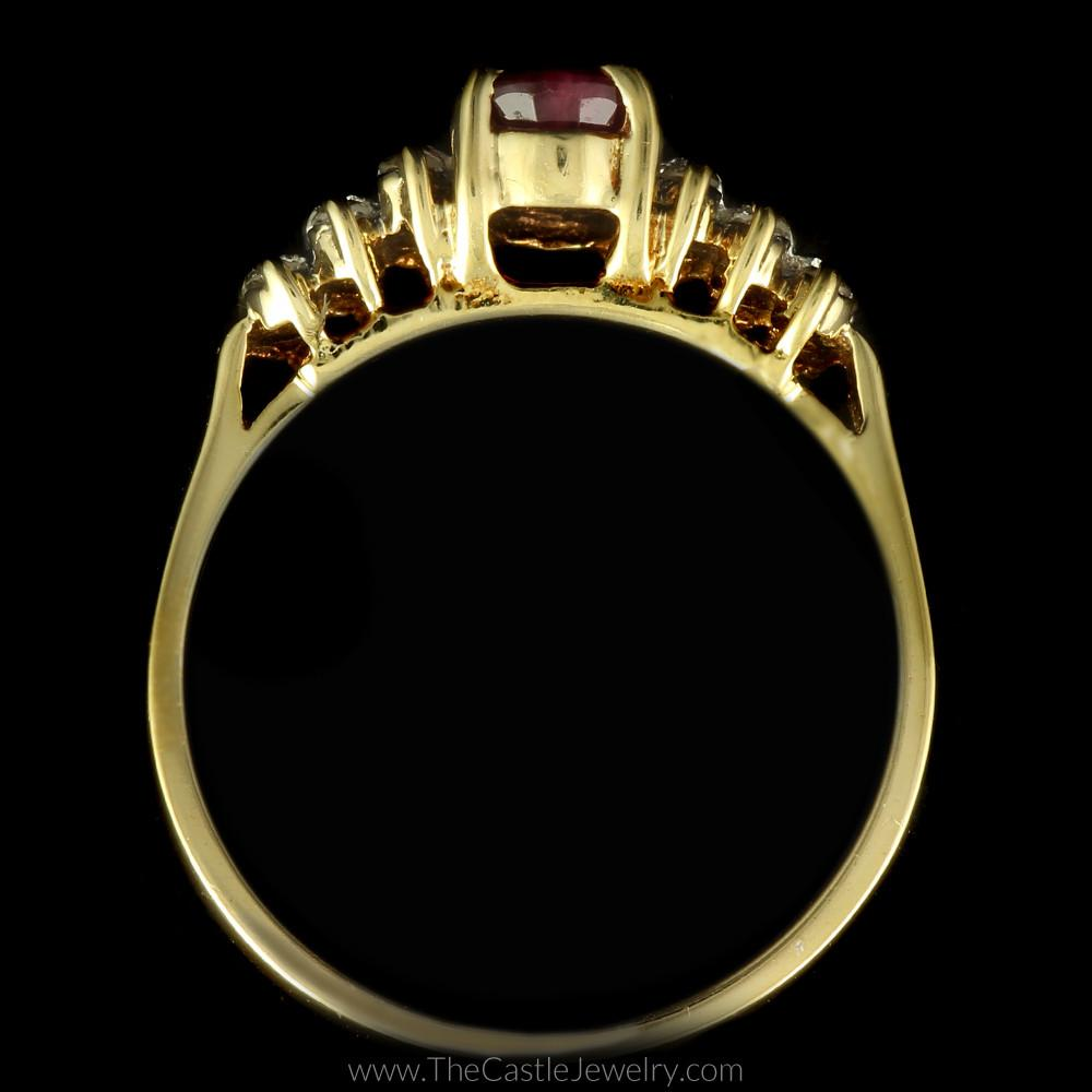 Oval Ruby Ring with Round Diamond Triple Row Accents in 10K Yellow Gold-1
