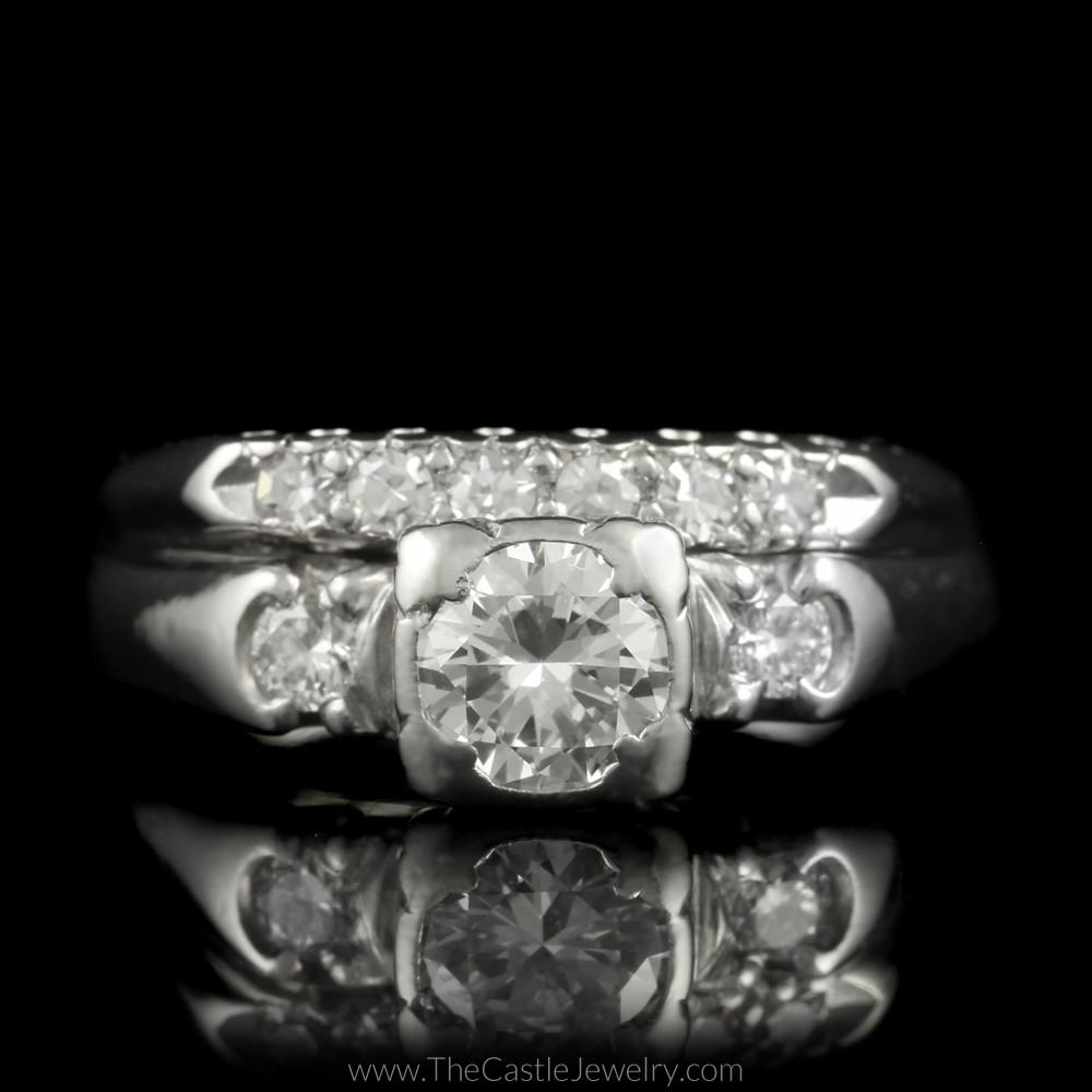 Traditional Bridal Set with Round Brilliant & Single Cut Diamonds in Platinum-0