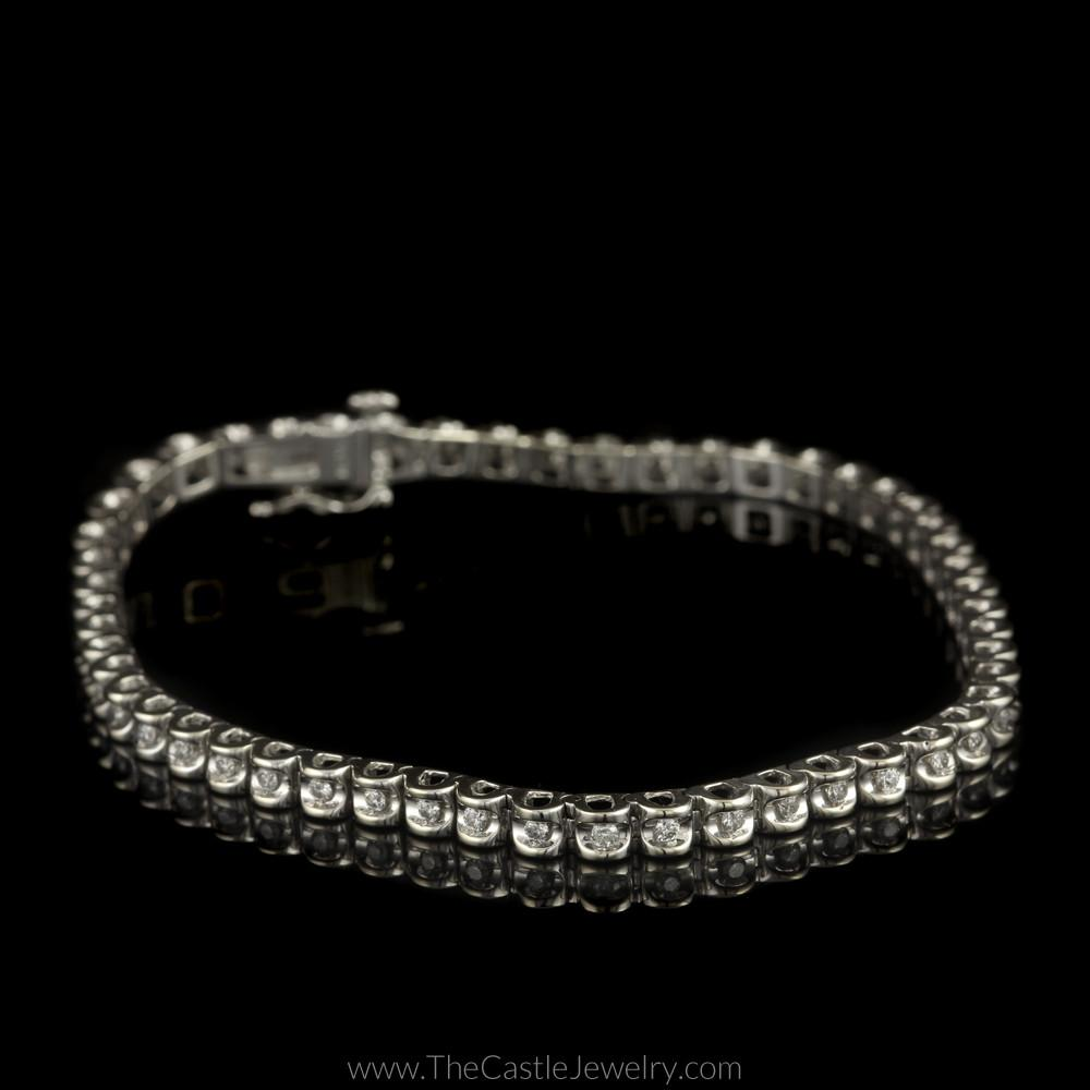 Diamond Illusion 1/2cttw Tennis Bracelet in 14K White Gold