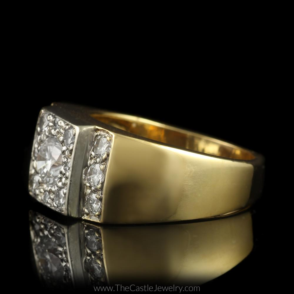 Gent's 1.50cttw Diamond Ring with Polished Sides in 14K Yellow Gold-2