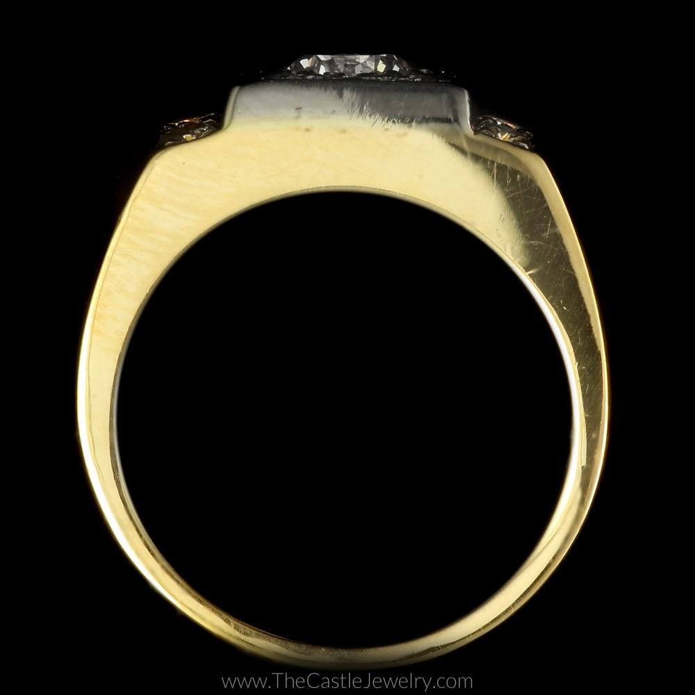 Gent's 1.50cttw Diamond Ring with Polished Sides in 14K Yellow Gold-1