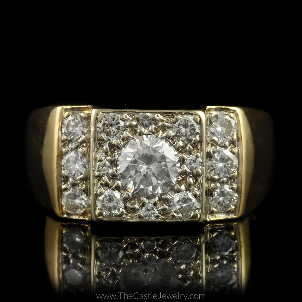 Gent's 1.50cttw Diamond Ring with Polished Sides in 14K Yellow Gold