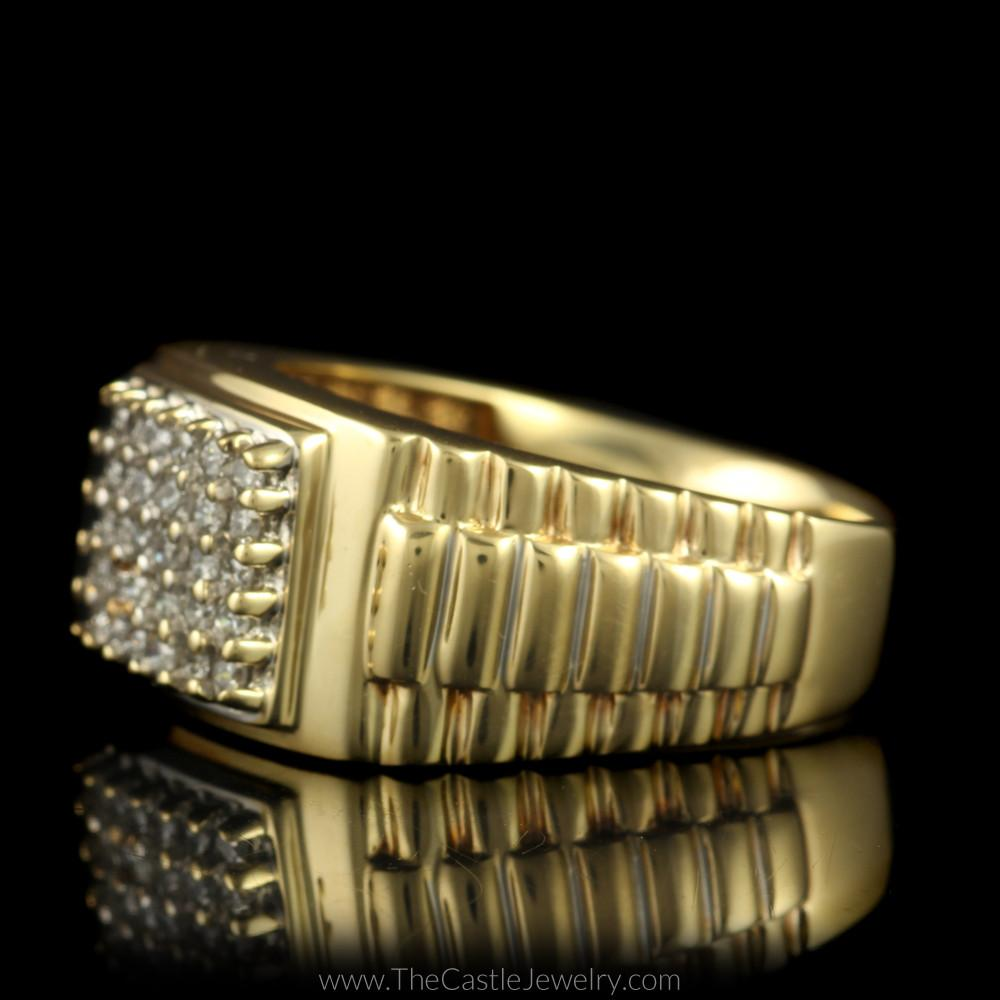 Square Shaped 1/2cttw Diamond Cluster Ring w/ Rolex Design Sides in 10K Yellow Gold-2
