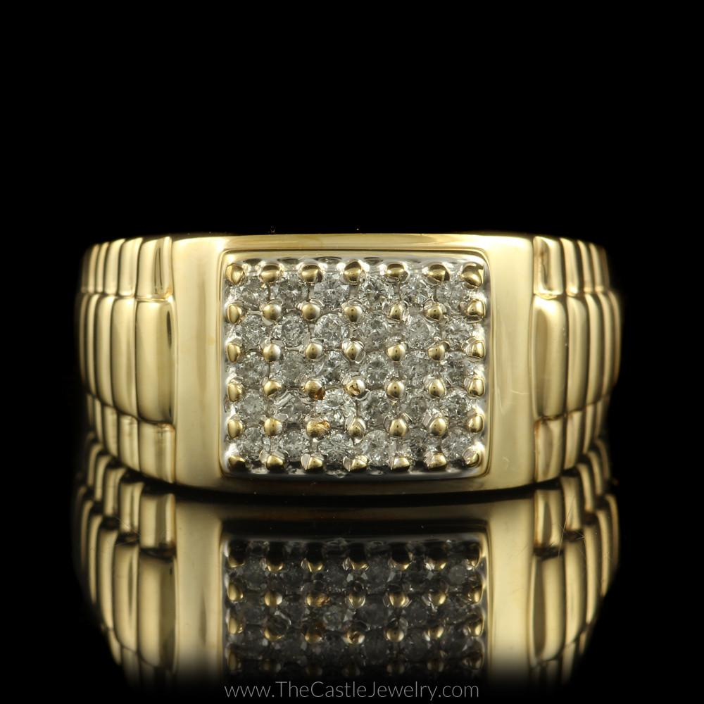 Square Shaped 1/2cttw Diamond Cluster Ring w/ Rolex Design Sides in 10K Yellow Gold