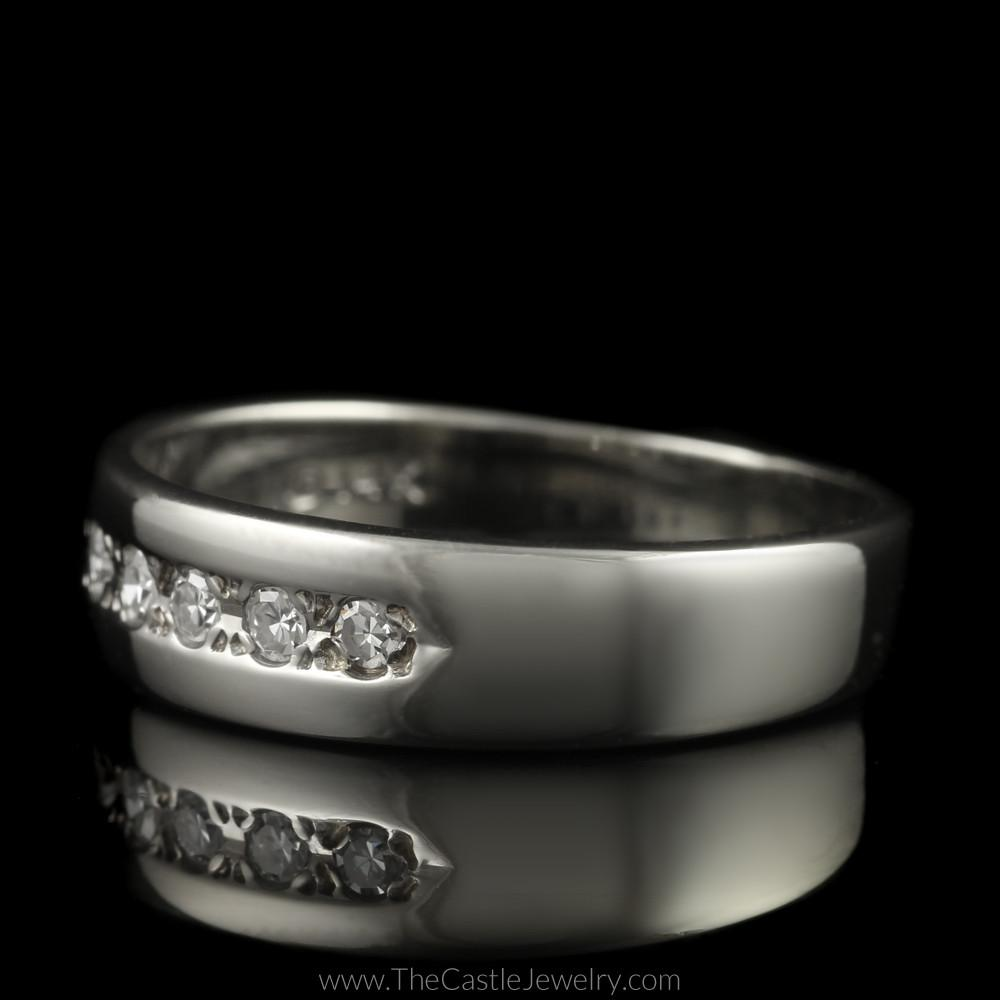 Single Cut 5 Diamond Wedding Band in 14K White Gold-2