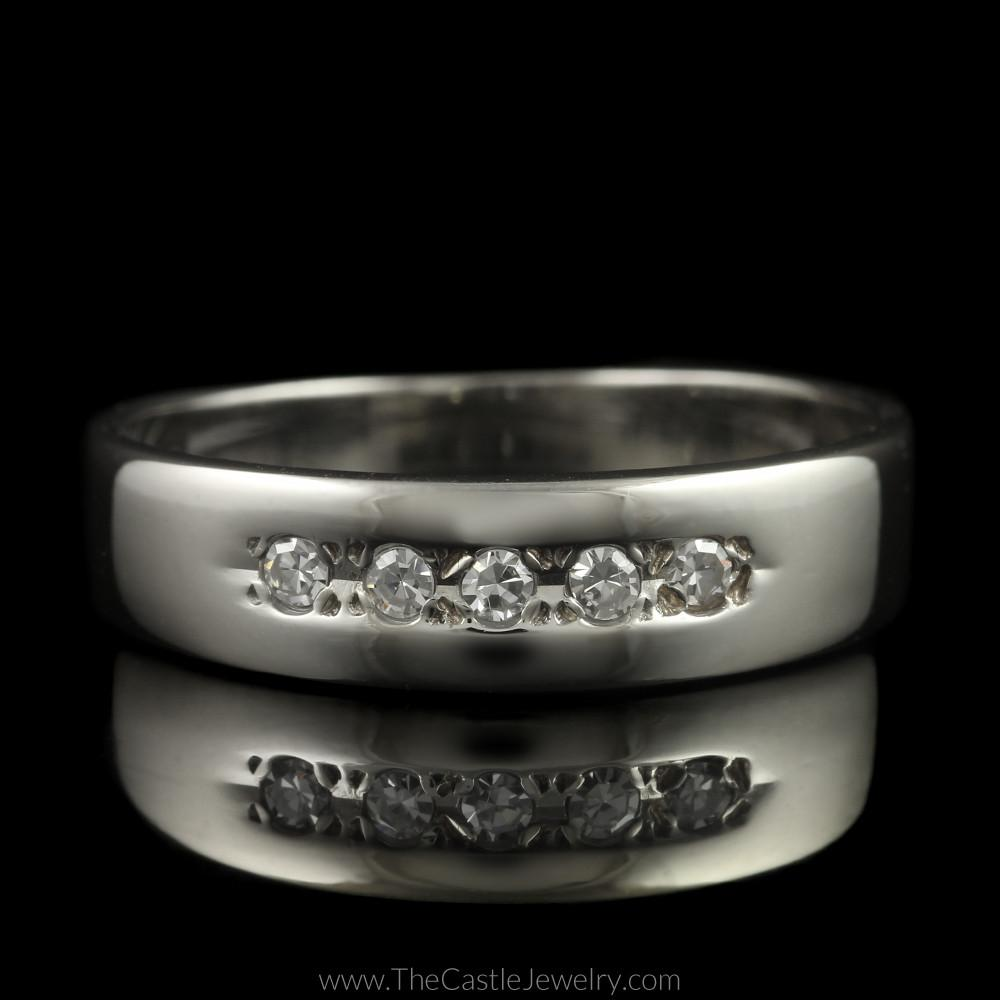 Single Cut 5 Diamond Wedding Band in 14K White Gold