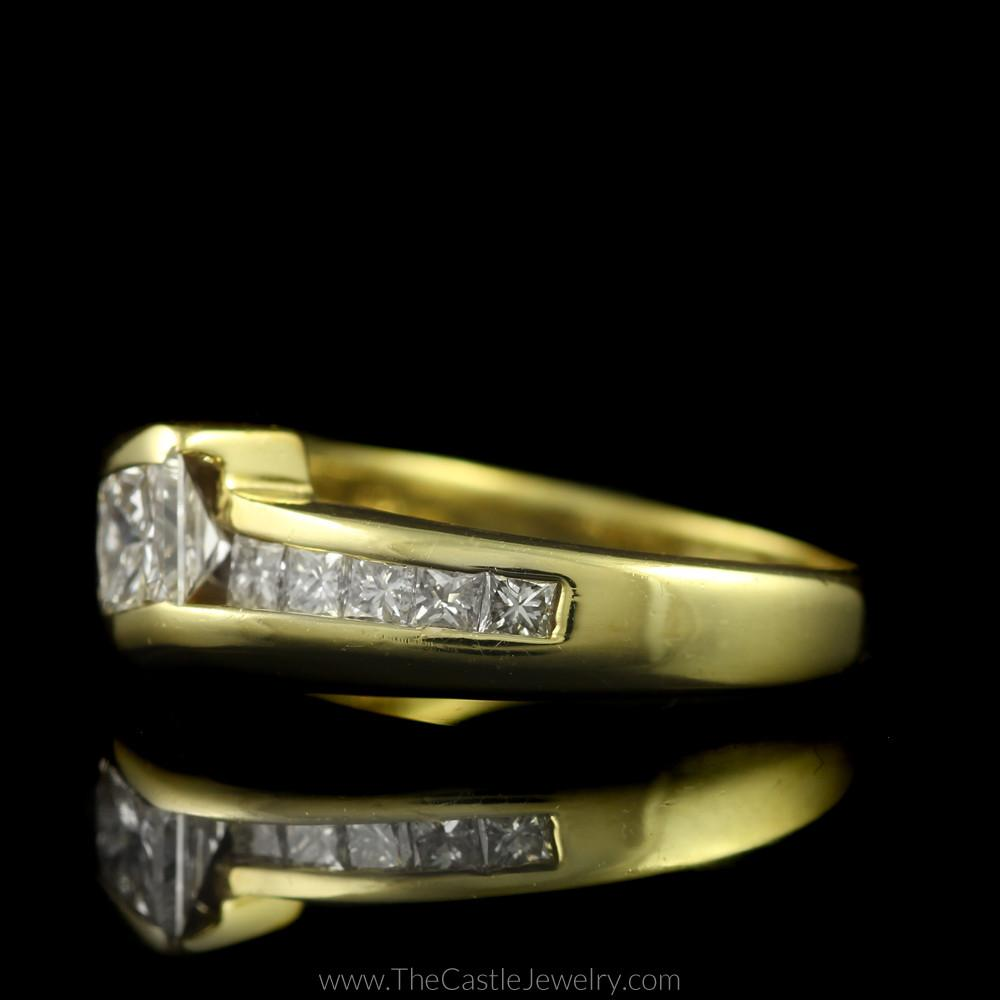 Tension Set Princess Cut Engagement Ring w/ Channel Set Accents in 18K Gold-2