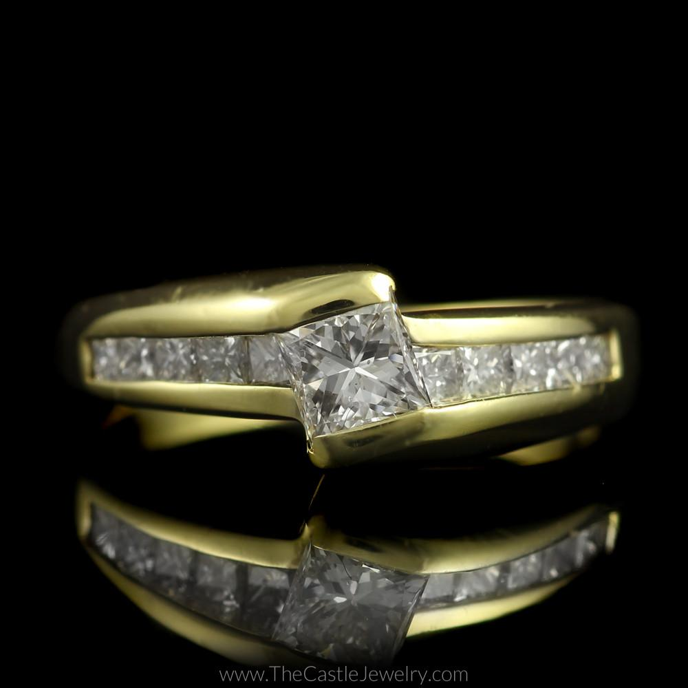 Tension Set Princess Cut Engagement Ring w/ Channel Set Accents in 18K Gold