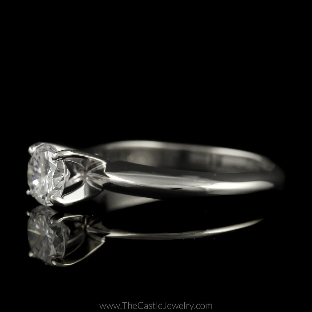 Round Brilliant Cut Diamond Solitaire Engagement Ring in 14K White Gold