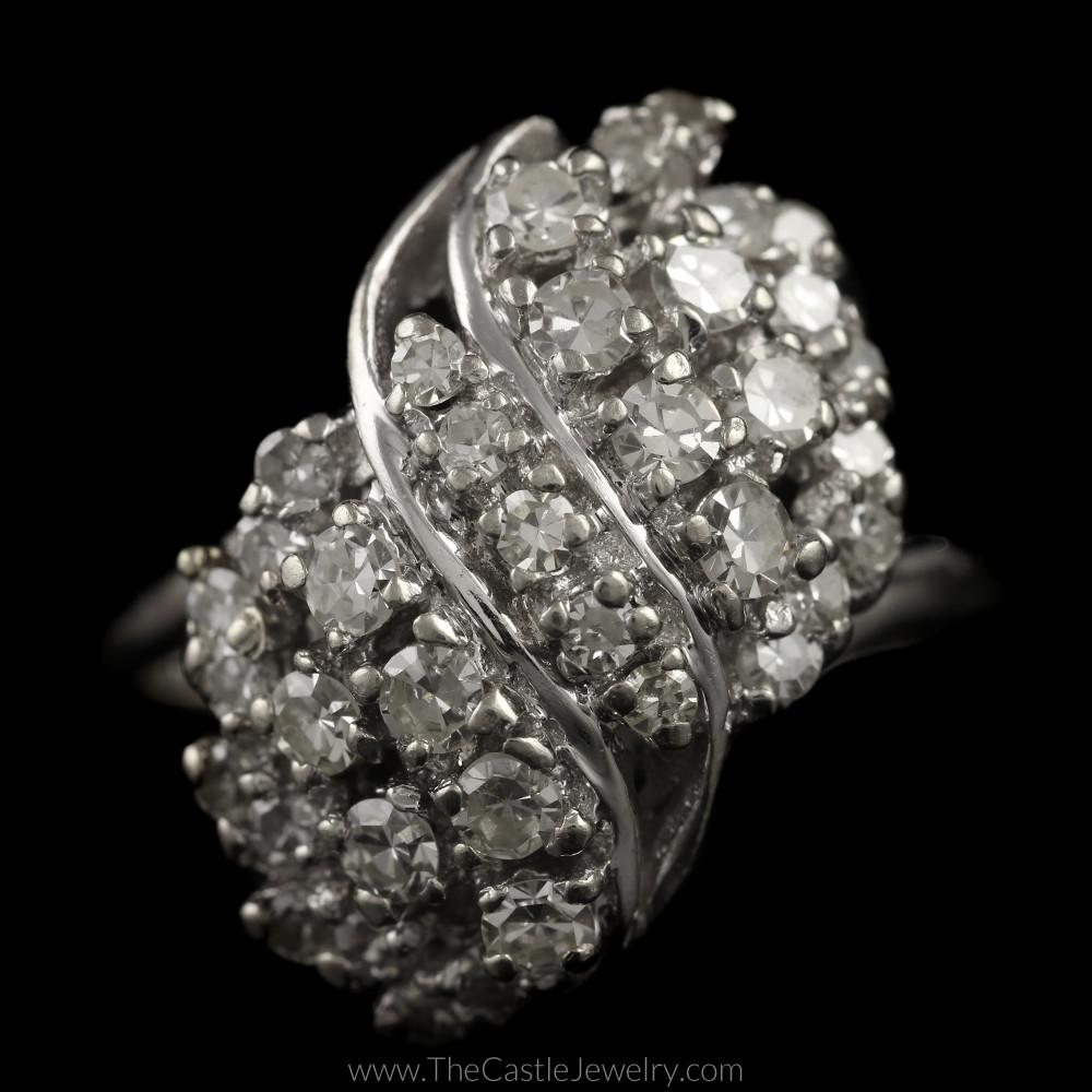 Antique Single Cut 1cttw Diamond Waterfall Cluster Ring in 14K White Gold