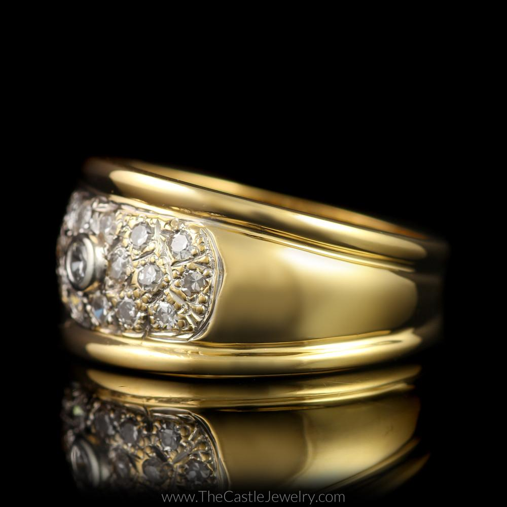 Wide Pave & Bezel Set 1/2cttw Diamond Band in 14K Yellow Gold-2