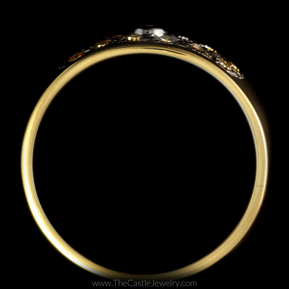 Wide Pave & Bezel Set 1/2cttw Diamond Band in 14K Yellow Gold-1